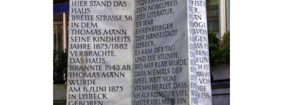Gedenktafel von Thomas Mann in der Beckergrube